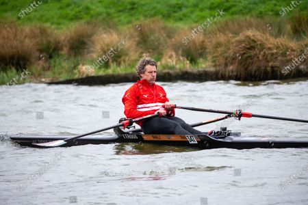 Picture dated April 3rd shows former Cambridge University rower and Olympian James Cracknell on the River Great Ouse in Ely, Cambridgeshire on Saturday as he films a segment for the broadcast on this Sundays Boat Race between Oxford and Cambridge University.