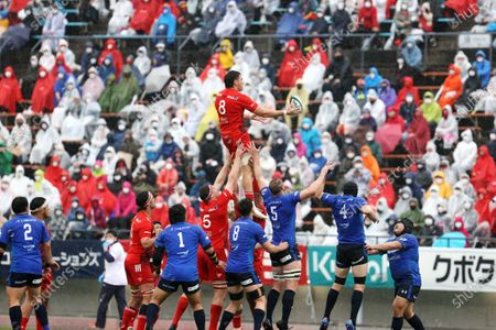 Stock Photo of Brodi Mccurran - Rugby : Japan Rugby Top League 2021 match between Kobelco Steelers 13-13 Panasonic Wild Knights at Kobe Universiade Memorial Stadium in Kobe, Japan.