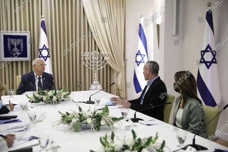 Hili Tropper and Orit Farkash-Hacohen, politicians from the Blue and White party, headed by Benny Gantz, awaits consultation with Israeli President Reuven Rivlin on who might form the next coalition government, at the President's residence.