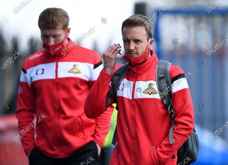 James Coppinger of Doncaster Rovers arrives at Memorial Stadium prior to kick off