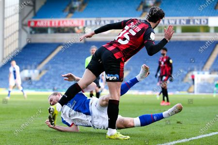 Bournemouth defender Adam Smith (15) brings down Blackburn Rovers forward Sam Gallagher (9) in the box and gives away a penalty during the EFL Sky Bet Championship match between Blackburn Rovers and Bournemouth at Ewood Park, Blackburn