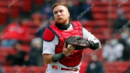 Boston Red Sox's Christian Vazquez plays against the Baltimore Orioles during the fourth inning of an opening day baseball game, in Boston