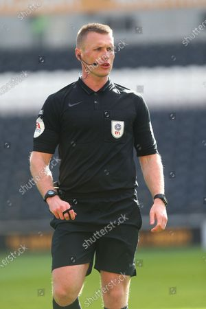 Referee Mr T Bramall during the EFL Sky Bet League 1 match between Hull City and Northampton Town at the KCOM Stadium, Kingston upon Hull
