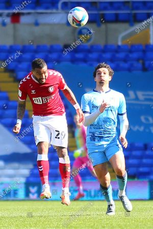 ristol City defender Danny Simpson (29) heads clear during the EFL Sky Bet Championship match between Coventry City and Bristol City at the Trillion Trophy Stadium, Birmingham