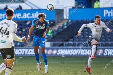 Preston North End forward Scott Sinclair (31) heads towards goal during the EFL Sky Bet Championship match between Swansea City and Preston North End at the Liberty Stadium, Swansea