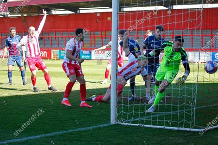 GOAL for Luke Norris of Stevenage FC during the EFL Sky Bet League 2 match between Stevenage and Bradford City at the Lamex Stadium, Stevenage