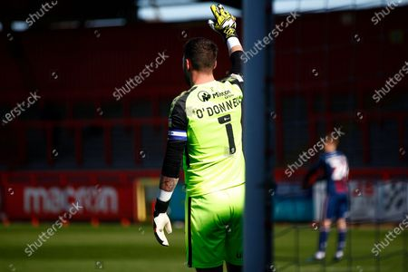 Richard O'Donnell of Bradford Cityprior to letting in the goal by Luke Norris of Stevenage FC during the EFL Sky Bet League 2 match between Stevenage and Bradford City at the Lamex Stadium, Stevenage