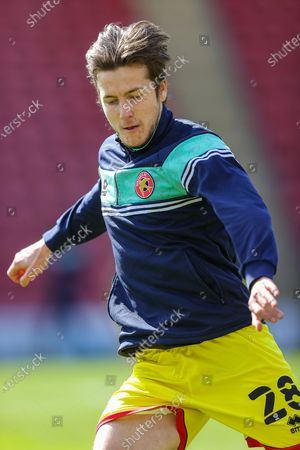 Walsall midfielder Frank Vincent (28) warms up prior to the EFL Sky Bet League 2 match between Leyton Orient and Walsall at the Breyer Group Stadium, London
