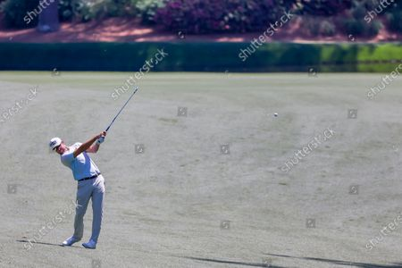 Webb Simpson of the US hits from the thirteenth fairway during a practice round for the 2021 Masters Tournament at the Augusta National Golf Club in Augusta, Georgia, USA, 05 April 2021. The 2021 Masters Tournament is held 08 April through 11 April 2021.