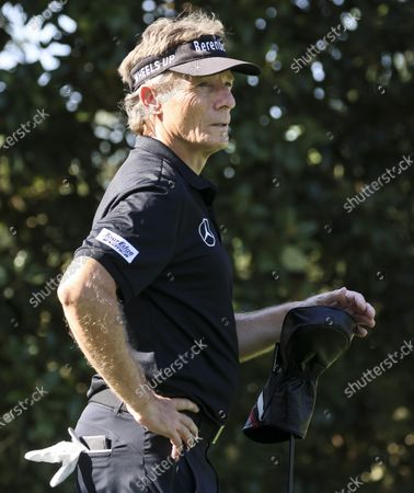 German Golfer Bernhard Langer waits to tee off on the 8th hole during a practice round at the 2021 Masters Tournament at the Augusta National Golf Club in Augusta, Georgia, USA, 05 April 2021. The 2021 Masters Tournament is being held 08 April through 11 April 2021.