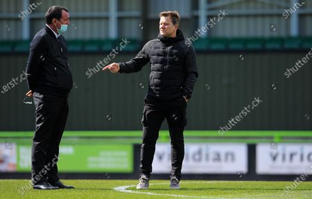 Forest Green Rovers manager Mark Cooper talks to Salford City manager Gary Bowyer prior to kick-off- Mandatory by-line: Nizaam Jones/JMP