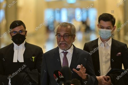 Malaysia's former prime minister Najib Razak defence team lead by lawyer Shafee Abdullah (C) hold a press conference at the Court of Appeal in Putrajaya, Malaysia on April 5, 2021. Malaysia's Court of Appeal on April 5, begin hearing a bid by Najib to set aside his conviction on corruption charges in a case linked to a multibillion-dollar scandal at state fund 1Malaysia Development Berhad (1MDB).
