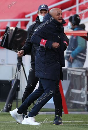 Anderlecht's head coach Vincent Kompany celebrates after scoring during a soccer match between Royal Antwerp FC and RSC Anderlecht, Monday 05 April 2021 in Antwerp, on day 32 of the 'Jupiler Pro League' first division of the Belgian championship.