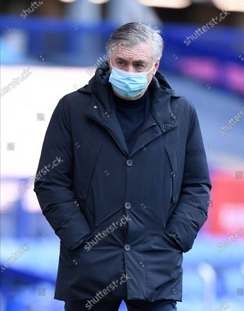 Everton's manager Carlo Ancelotti looks on before the English Premier League soccer match between Everton and Crystal Palace at Goodison Park in Liverpool, England