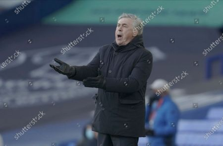 Everton's manager Carlo Ancelotti gives instructions during the English Premier League soccer match between Everton and Crystal Palace at Goodison Park in Liverpool, England