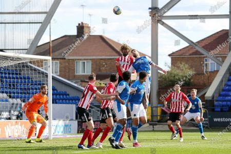 Stock Picture of Mark Beevers of Peterborough United jumps for a header with Dion Sanderson of Sunderland