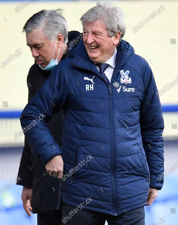 Crystal Palace's manager Roy Hodgson (R) and Everton's manager Carlo Ancelotti (L) react before the English Premier League soccer match between Everton FC and Crystal Palace in Liverpool, Britain, 05 April 2021.