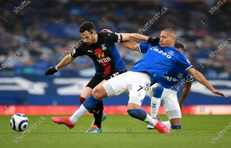Everton's Richarlison (R) in action with Crystal Palace's Luka Milivojevic (L) during the English Premier League soccer match between Everton FC and Crystal Palace in Liverpool, Britain, 05 April 2021.