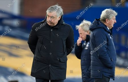 Everton's manager Carlo Ancelotti (L) reacts after the English Premier League soccer match between Everton FC and Crystal Palace in Liverpool, Britain, 05 April 2021.