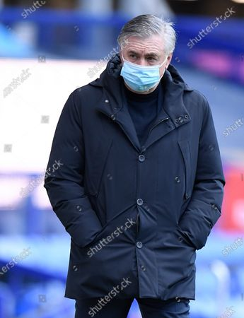 Everton's manager Carlo Ancelotti arrives to the pitch before the English Premier League soccer match between Everton FC and Crystal Palace in Liverpool, Britain, 05 April 2021.