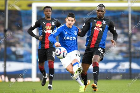 Stock Picture of Everton's James Rodriguez (C) in action with Crystal Palace's Christian Benteke (R) during the English Premier League soccer match between Everton FC and Crystal Palace in Liverpool, Britain, 05 April 2021.