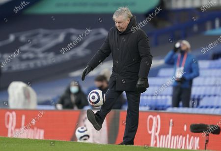 Everton's manager Carlo Ancelotti shows his skills during the English Premier League soccer match between Everton FC and Crystal Palace in Liverpool, Britain, 05 April 2021.