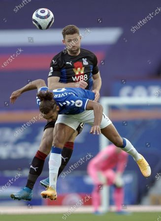 Stock Photo of Crystal Palace's Gary Cahill (up) and Everton's Dominic Calvert-Lewin (down) fight for the ball during the English Premier League soccer match between Everton FC and Crystal Palace in Liverpool, Britain, 05 April 2021.