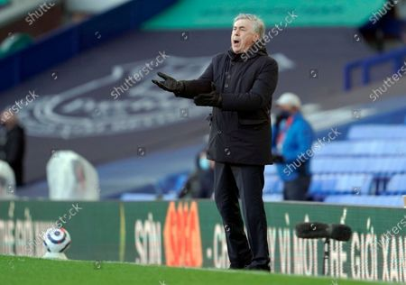 Everton's manager Carlo Ancelotti reacts during the English Premier League soccer match between Everton FC and Crystal Palace in Liverpool, Britain, 05 April 2021.