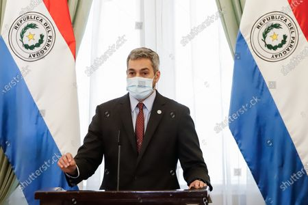 Mario Abdo Benitez, President of Paraguay speaks during a press conference at the Government Palace in Asuncion, Paraguay 05 April 2021. The president of Paraguay, Mario Abdo Benitez, assured on 05 April that the Government works in the search and acquisition of more doses of vaccines against the coronavirus, but insisted that they do not want to 'generate a false expectation', since the purchase does not depend only on the Executive's efforts.