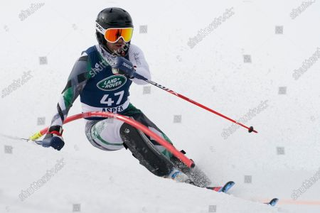 Andrew Miller skis during a men's U.S. Alpine Championship slalom skiing race, in Aspen, Colo