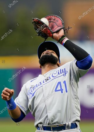 Stock Picture of Kansas City Royals' Carlos Santana catches a fly ball hit by Cleveland Indians' Yu Chang in the fifth inning of a baseball game, in Cleveland. Santana was out on the play