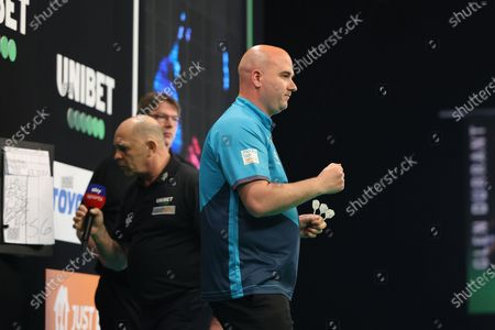 Rob Cross celebrates during the Premier League Darts at Marshall Arena, Milton Keynes