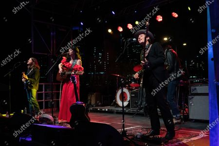 Mike Lupento, Nikki Lane, and Z Lynch perform during the Long Live Music socially distanced concert event hosted by Luck Reunion and The Long Center