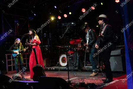 Mike Lupento, Nikki Lane, Charlie Sexton, and Z Lynch perform during the Long Live Music socially distanced concert event hosted by Luck Reunion and The Long Center
