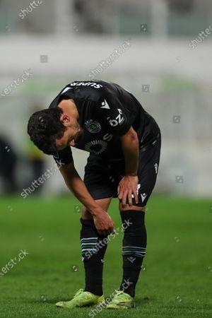 Stock Picture of Sporting's Pedro Goncalves reacts during their Portuguese First League soccer match against Moreirense, held at Comendador Joaquim de Almeida Freitas stadium, in Moreira de Conegos, northern Portugal, 05 April 2021.