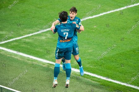 Stock Picture of Forward Sardar Azmoun of FC Zenit and Midfielder Vyacheslav Karavaev of FC Zenit during the Russian Premier League match FC Zenit v FC Khimki at Zenit Arena