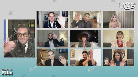 Stock Picture of Roger Durling, Dave Karger (Moderator), Riz Ahmed (Sound of Metal), Maria Bakalova (Borat Subsequent Movie Film), Kingsley Ben-Adir (One Night in Miami), Andra Day (The United States of Billie Holiday), Sidney Flanigan (Never Rarely Sometimes Always), Vanessa Kirby (Pieces of a Woman), Tahar Rahim (The Mauritanian) and Zendaya (Malcolm & Marie)