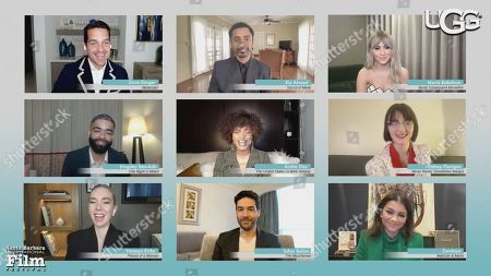 Stock Photo of Dave Karger (Moderator), Riz Ahmed (Sound of Metal), Maria Bakalova (Borat Subsequent Movie Film), Kingsley Ben-Adir (One Night in Miami), Andra Day (The United States of Billie Holiday), Sidney Flanigan (Never Rarely Sometimes Always), Vanessa Kirby (Pieces of a Woman), Tahar Rahim (The Mauritanian) and Zendaya (Malcolm & Marie)