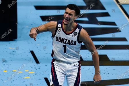 Gonzaga guard Jalen Suggs (1) celebrates after making a basket during the second half of the championship game against Baylor in the men's Final Four NCAA college basketball tournament, at Lucas Oil Stadium in Indianapolis