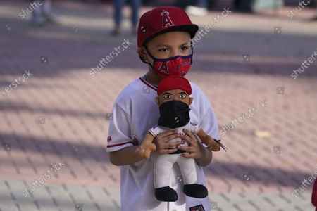 Daniel Rodriguez wears a face mask while carrying an Albert Pujols doll before a baseball game between the Los Angeles Angels and the Houston Astros, in Anaheim, Calif