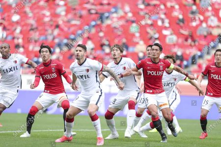 (L to R) Leo Silva (Antlers), Takuya Iwanami (Reds), Everaldo, Koki Machida (Antlers), Tomoaki Makino (Reds) - Football / Soccer : 2021 J1 League match between Urawa Red Diamonds 2-1 Kashima Antlers at Saitama Stadium 2002, Saitama, Japan.