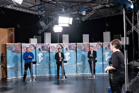 (L-R) Candidates Erik Jensen, Siumut, Mute B. Egede, IA, and Jens-Frederik Nielsen, Demokraatit, participate in a debate ahead of the parliamentary elections, at KNR (Greenlandic Broadcasting Corporation) in Nuuk, Greenland, 05 April 2021 (issued 06 April 2021). Greenland will hold parliamentary elections on 06 April 2021.