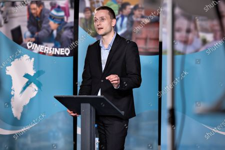 Candidate Jens-Frederik Nielsen, Demokraatit, speaks during a debate ahead of the parliamentary elections, at KNR (Greenlandic Broadcasting Corporation) in Nuuk, Greenland, 05 April 2021 (issued 06 April 2021). Greenland will hold parliamentary elections on 06 April 2021.