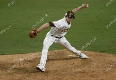 San Diego Padres' Tim Hill pitches against the San Francisco Giants at Petco Park on Monday, April 5, 2021 in San Diego, CA