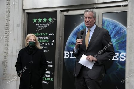 New York City Mayor Bill de Blasio and Theatrical Producer Daryl Roth make remarks celebrating the opening of the production of Blindness during the COVID-19 pandemic at the Daryl Roth Theater in New York City