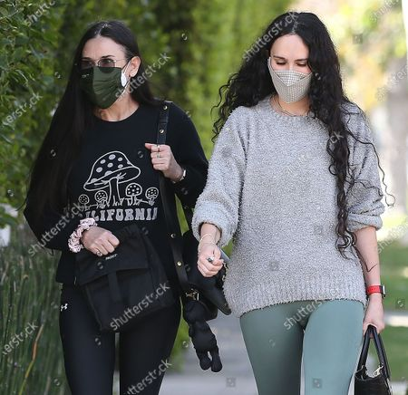 Rumer Willlis and mom Demi Moore leaving pilates classes together in West Hollywood