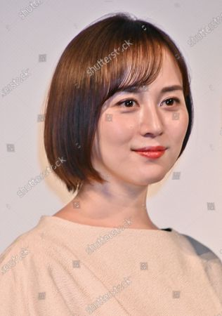"""Actress Manami Higa attends the stage greeting for """"Otsunahiki no Koi"""" in Tokyo, Japan."""