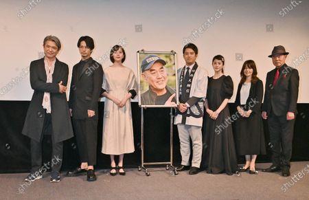 "Stock Image of (L-R)Actors Takeshi Masu, Yuichi Nakamura, Manami Higa, Takahiro Miura, Wakana Matsumoto, Mako Ishino and Seishiro Nishida attend a stage greeting for ""Otsunahiki no Koi"" in Tokyo, Japan."