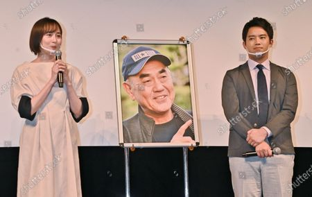 """Actress Manami Higa(L) and actor Takahiro Miura attend a stage greeting for """"Otsunahiki no Koi"""" in Tokyo, Japan."""
