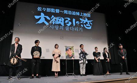"(L-R)Actors Takeshi Masu, Yuichi Nakamura, Manami Higa, Takahiro Miura, Wakana Matsumoto, Mako Ishino and Seishiro Nishida attend a stage greeting for ""Otsunahiki no Koi"" in Tokyo, Japan."